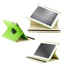 360 Degree Rotating Duel Layer Green Leather case with smart Cover function for The New iPad 3 3rd iPad 2 Gen