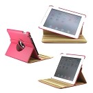 360 Degree Rotating Duel Layer Hot Pink Leather case with smart Cover function for The New iPad 3 3rd iPad 2 Gen