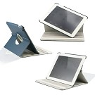 360 Degree Rotating Duel Layer Dark Blue Leather case with smart Cover function for The New iPad 3 3rd iPad 2 Gen