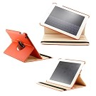 360 Degree Rotating Duel Layer Orange Leather case with smart Cover function for The New iPad 3 3rd iPad 2 Gen
