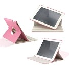 360 Degree Rotating Duel Layer Pink Leather case with smart Cover function for The New iPad 3 3rd iPad 2 Gen