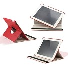 360 Degree Rotating Duel Layer Red Leather case with smart Cover function for The New iPad 3 3rd iPad 2 Gen
