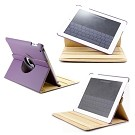 360 Degree Rotating Duel Layer Purple Leather case with smart Cover function for The New iPad 3 3rd iPad 2 Gen