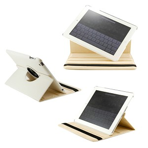 360 Degree Rotating Duel Layer White Leather case with smart Cover function for The New iPad 3 3rd iPad 2 Gen