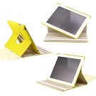 360 Degree Rotating Duel Layer Yellow Leather case with smart Cover function for The New iPad 3 3rd iPad 2 Gen